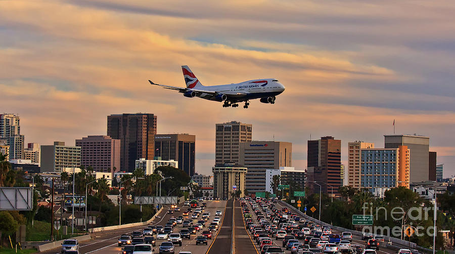 Boeing Photograph - Boeing 747 Landing In San Diego by Sam Antonio Photography