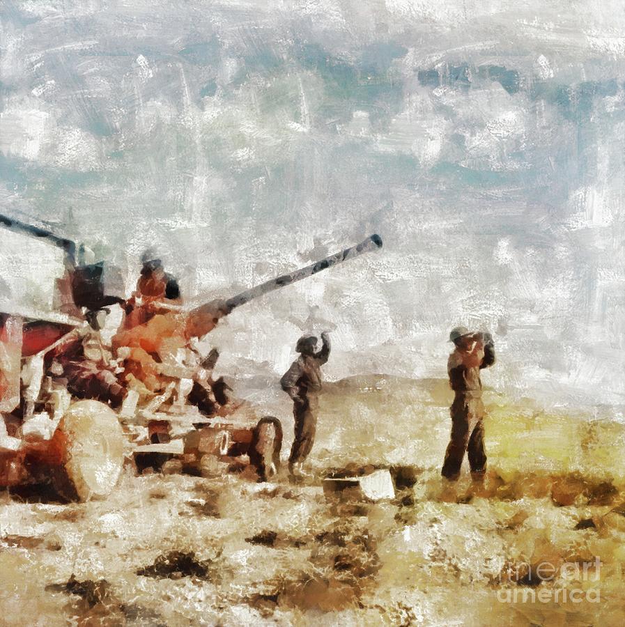 Bofors Painting - Bofors, Desert War, Wwii by Mary Bassett