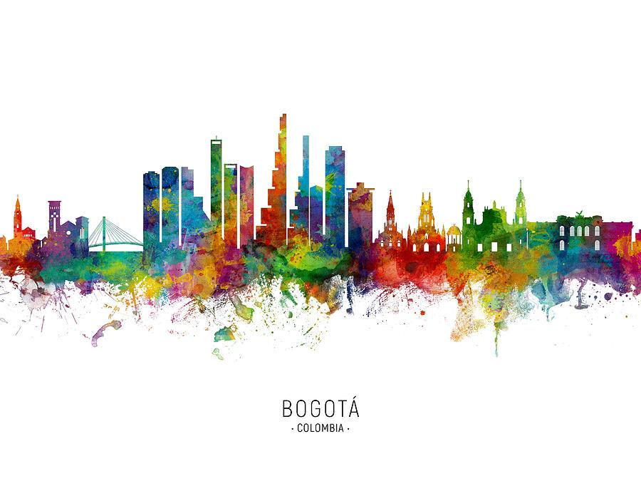 Skyline Digital Art - Bogota Colombia Skyline by Michael Tompsett