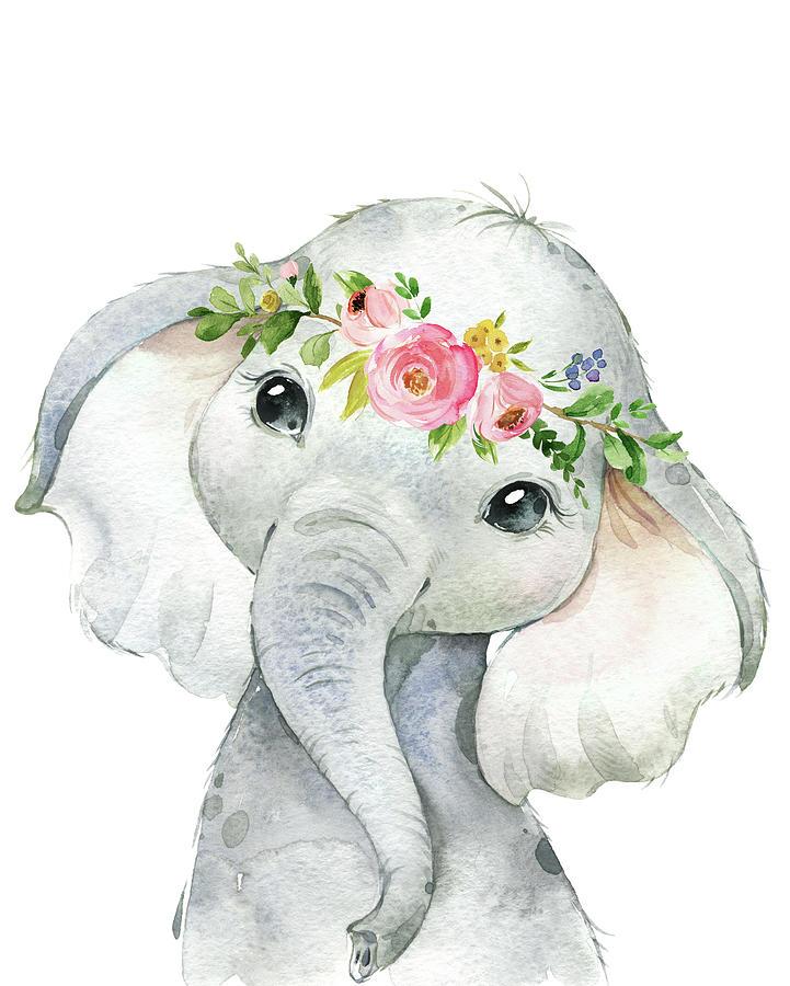 Elephant Digital Art - Boho Elephant by Pink Forest Cafe