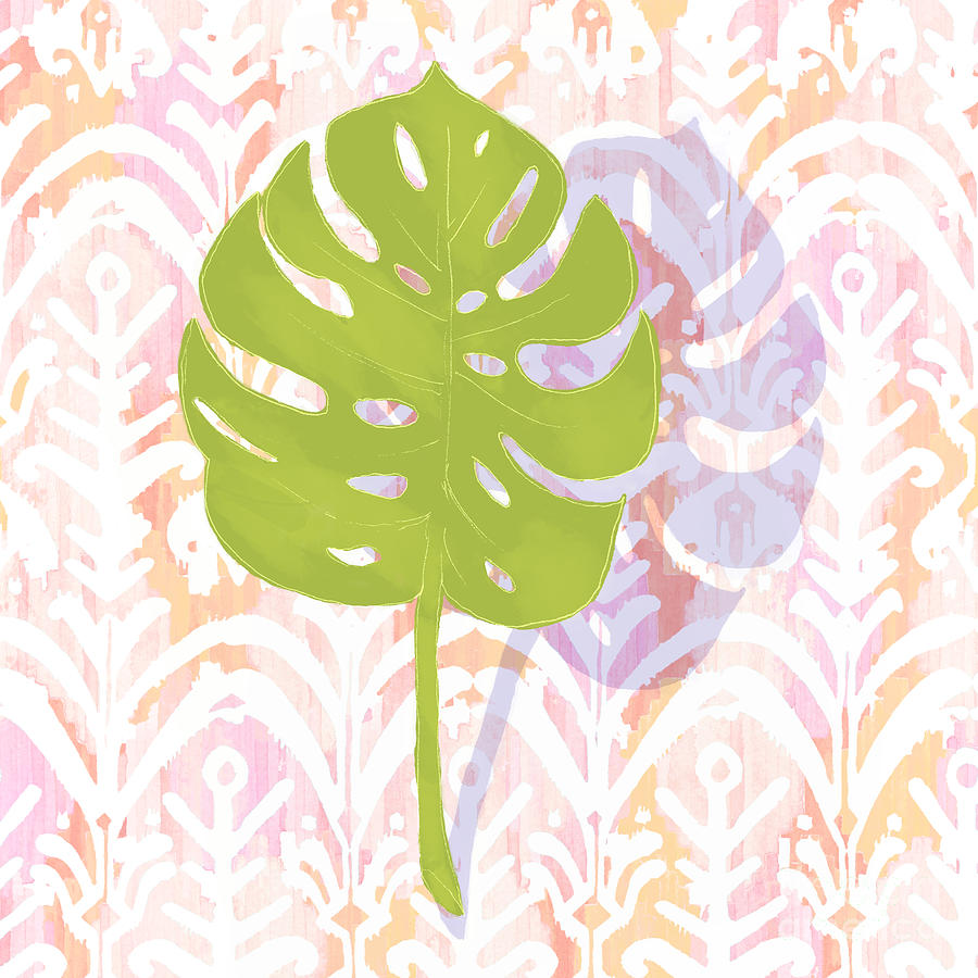Boho Ikat Tropical Monstera Leaf by Tina Lavoie