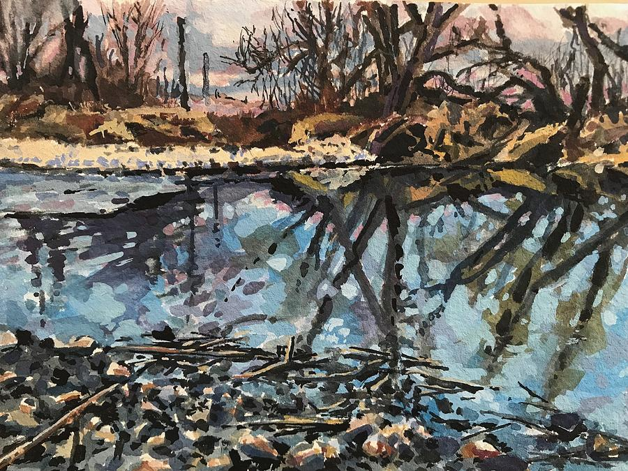 Boise River from Greenbelt study by Les Herman