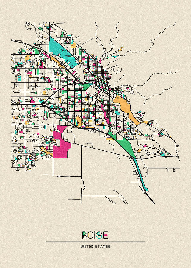 Boise, United States City Map by Inspirowl Design