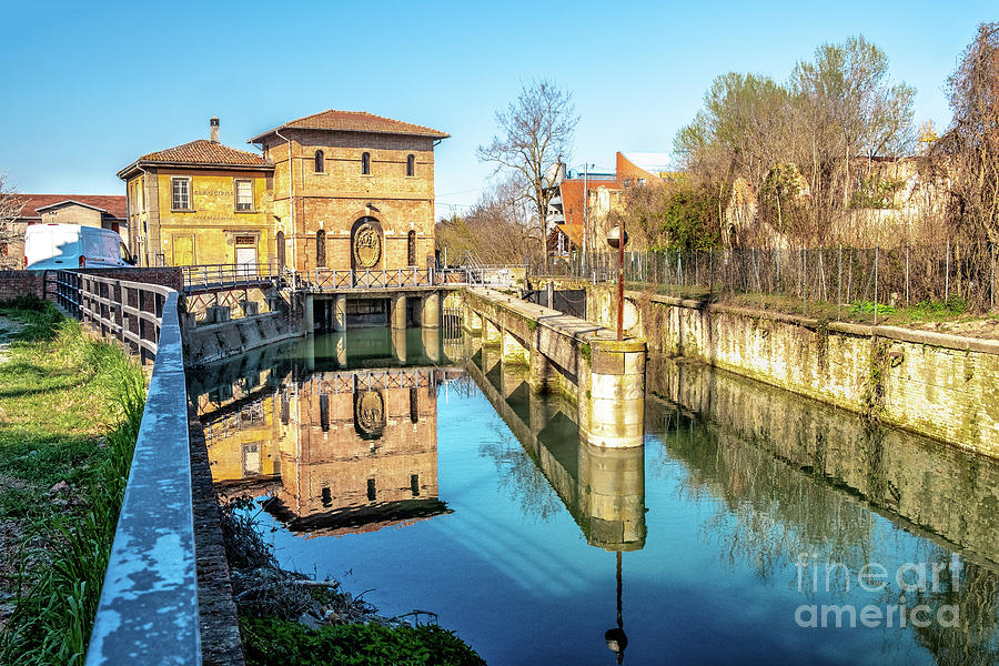 Bologna Battiferro Navile canal river lock - an historic landmark of the italian city by Luca Lorenzelli