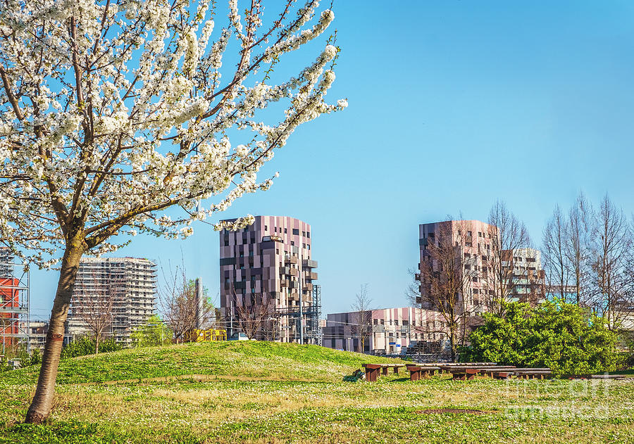 Bologna Quartiere Navile in Italy with Trilogia Navile modern building city park in spring by Luca Lorenzelli