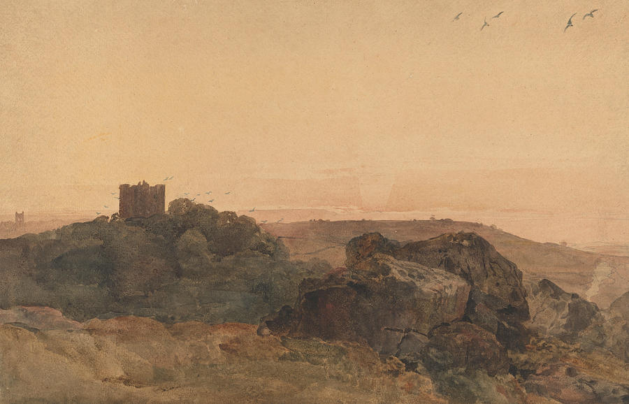 English Painters Drawing - Bolton Castle by Peter De Wint