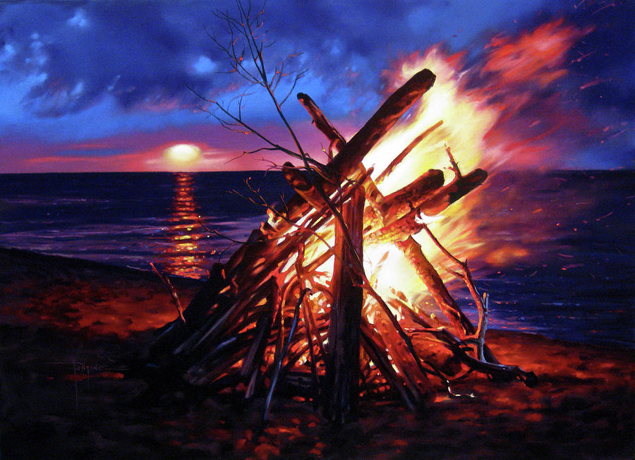 Beach Pastel - Bonfire by Dianna Ponting