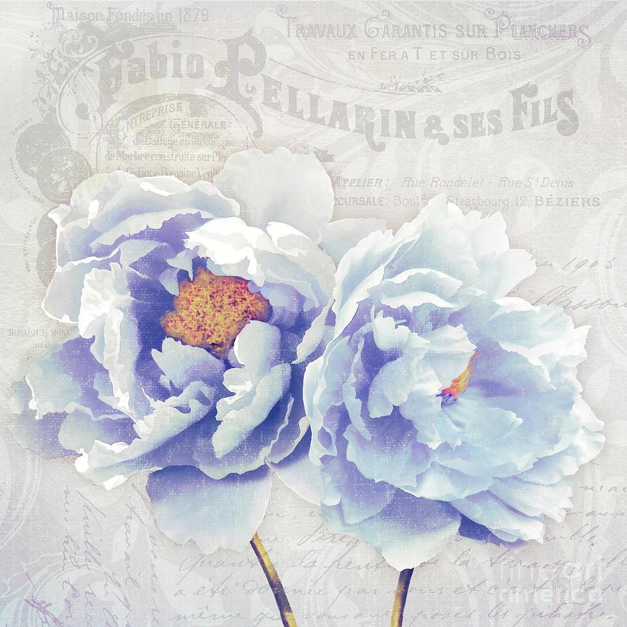 Bonjour Belle Parisian floral pastel peonies by Tina Lavoie
