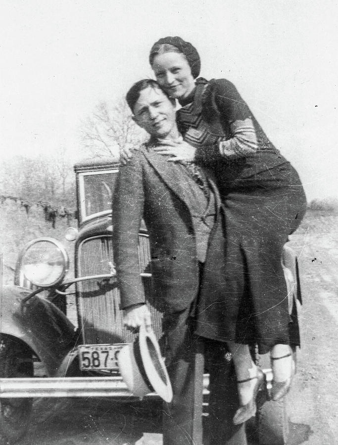 Bonnie And Clyde Painting - Bonnie And Clyde, 1933 by American School