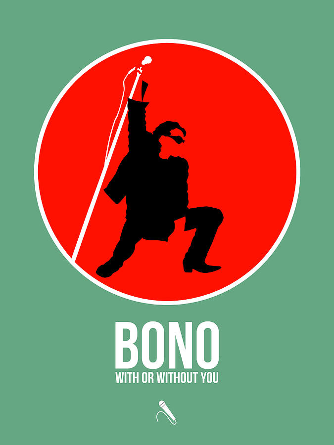 U2 Digital Art - Bono by Naxart Studio
