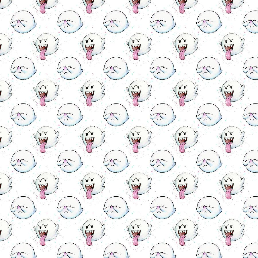 Ghosts Painting - Boo Ghost Pattern by Olga Shvartsur