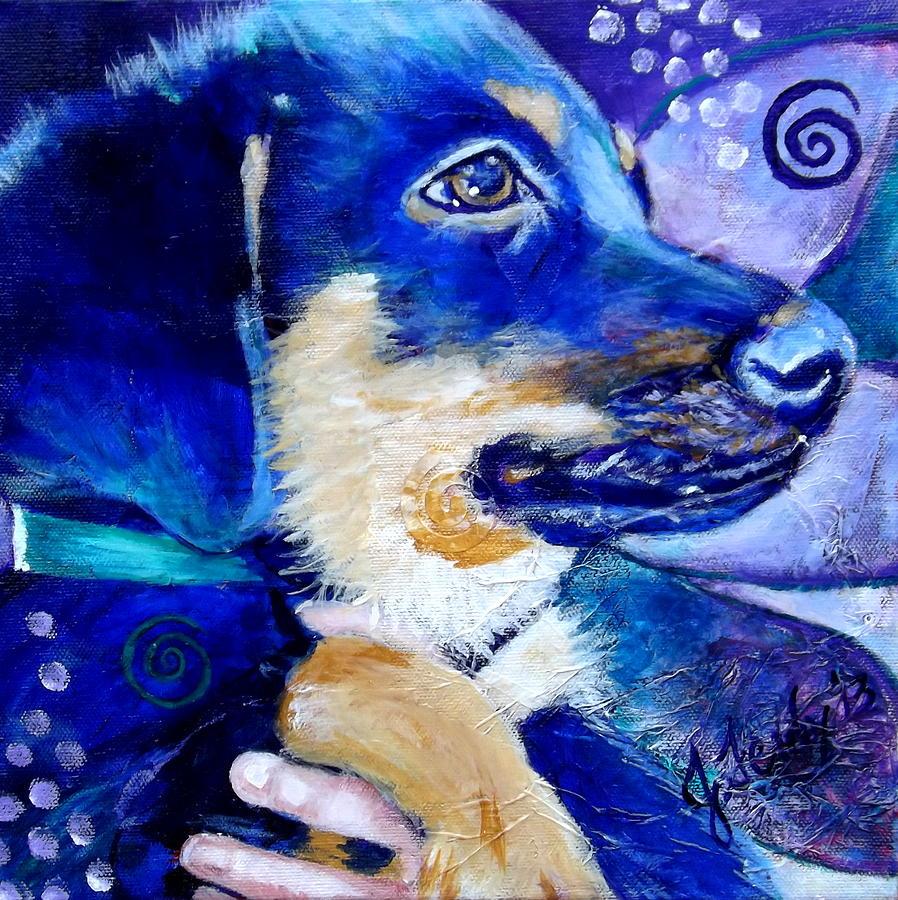 Puppy Painting - Boomer Puppy by Goddess Rockstar