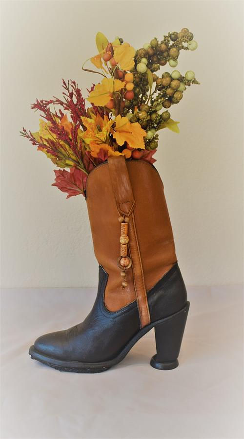 Boot Mixed Media - Boot Vase by Charla Van Vlack