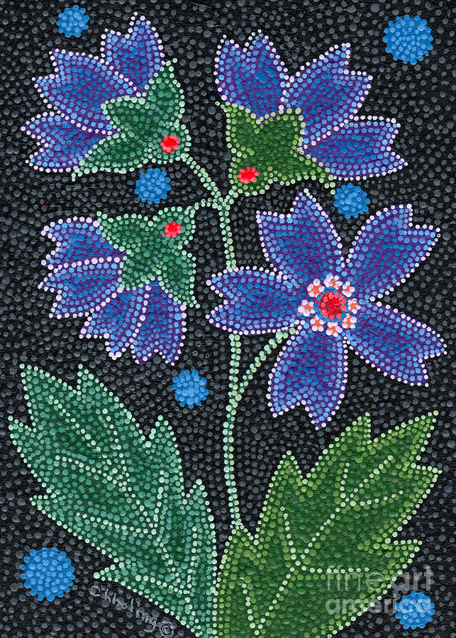 Native American Painting - Native American Floral Beadwork, Blue by Chholing Taha