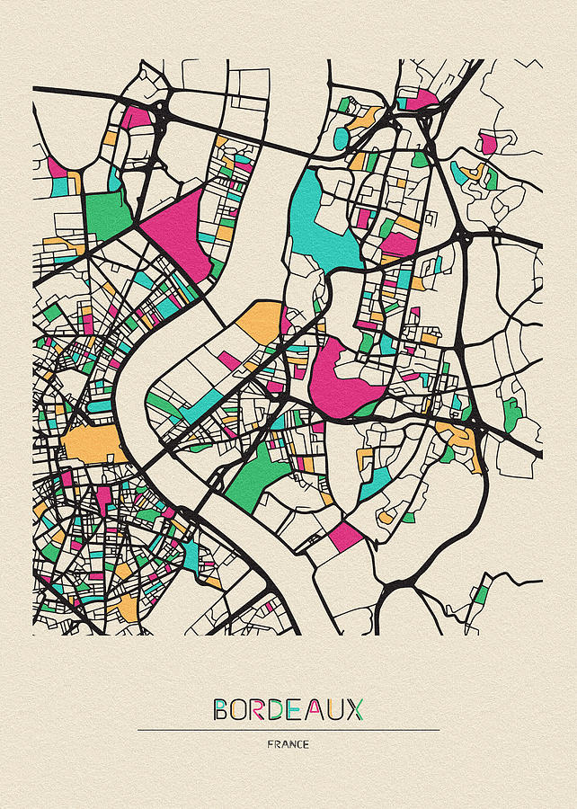 Bordeaux, France City Map by Inspirowl Design