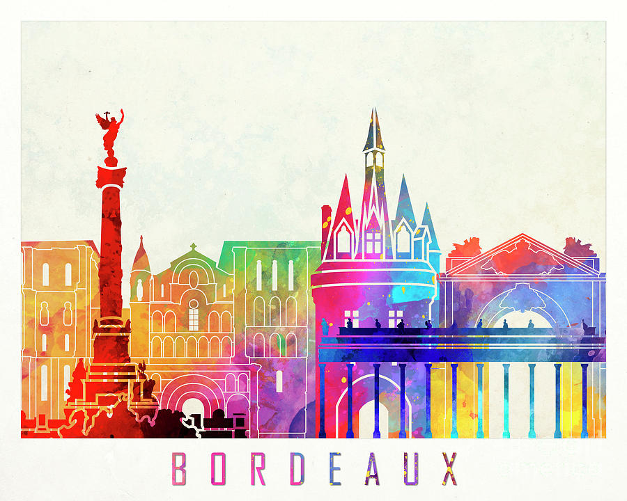 Bordeaux landmarks watercolor poster by Pablo Romero