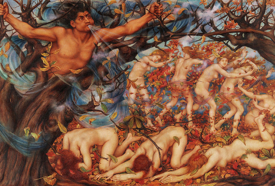 Evelyn De Morgan Painting - Boreas And The Fallen Leaves, 1914 by Evelyn De Morgan