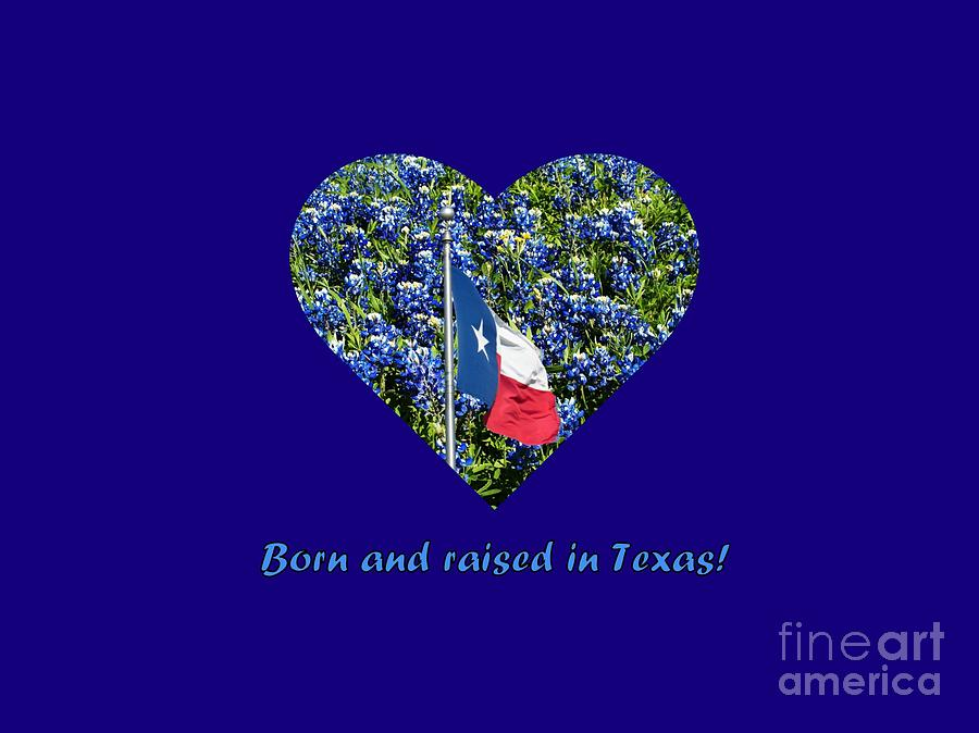Texas Photograph - Born And Raised In Texas Accented by Karin Gandee