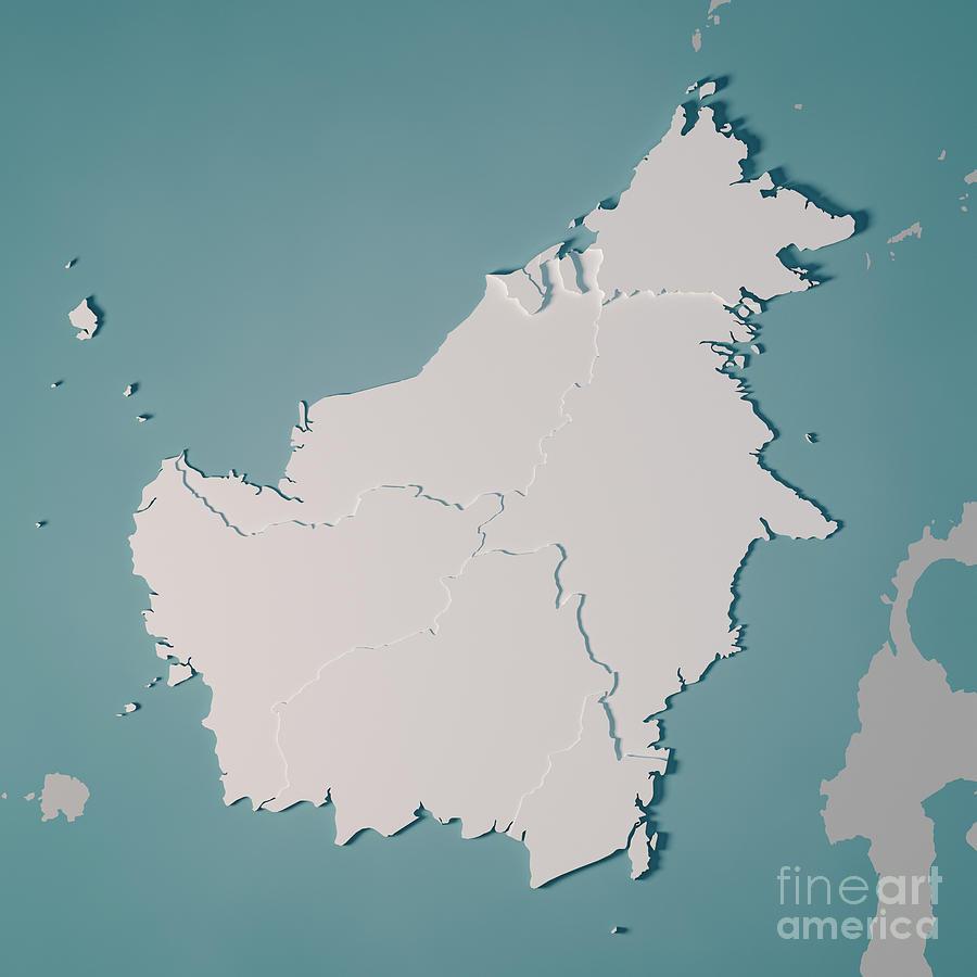 Borneo Island: Borneo Island Map Administrative Divisions 3d Render