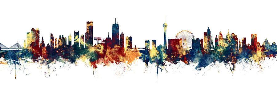 Boston Digital Art - Boston And Las Vegas Skylines Mashup by Michael Tompsett