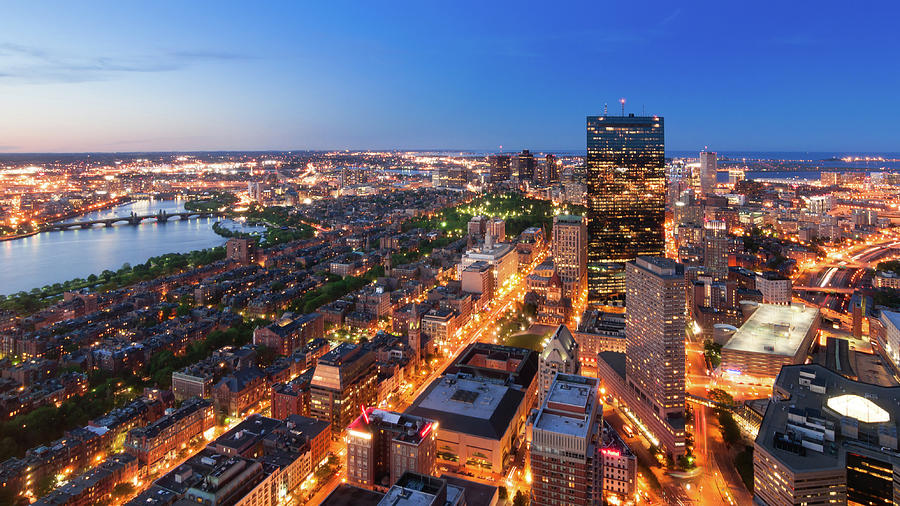 Boston From Top At Dusk Photograph by Michal Cialowicz