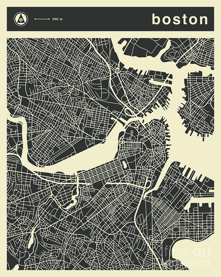 Boston Map 3 Digital Art By Jazzberry Blue