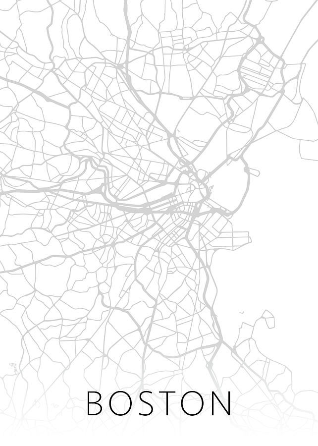 Boston Mixed Media - Boston Massachusetts City Street Map Black And White Minimalist Series by Design Turnpike