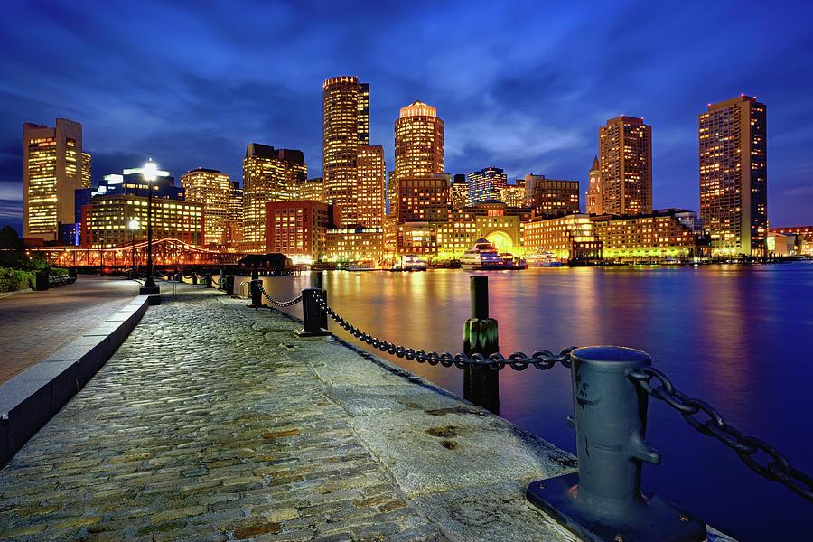 Boston Skyline At Dusk Photograph by Adam Jones