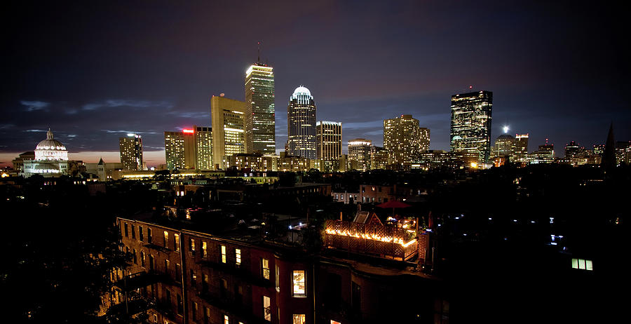 Boston Skyline At Night Photograph by Gregor Hofbauer