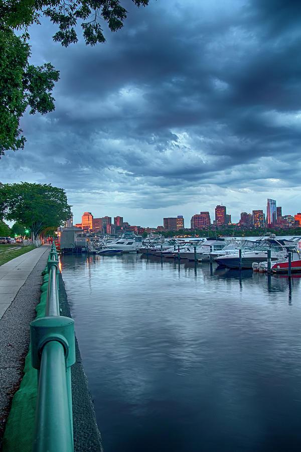 Boston Skyline Cloudy Sunset by Joann Vitali