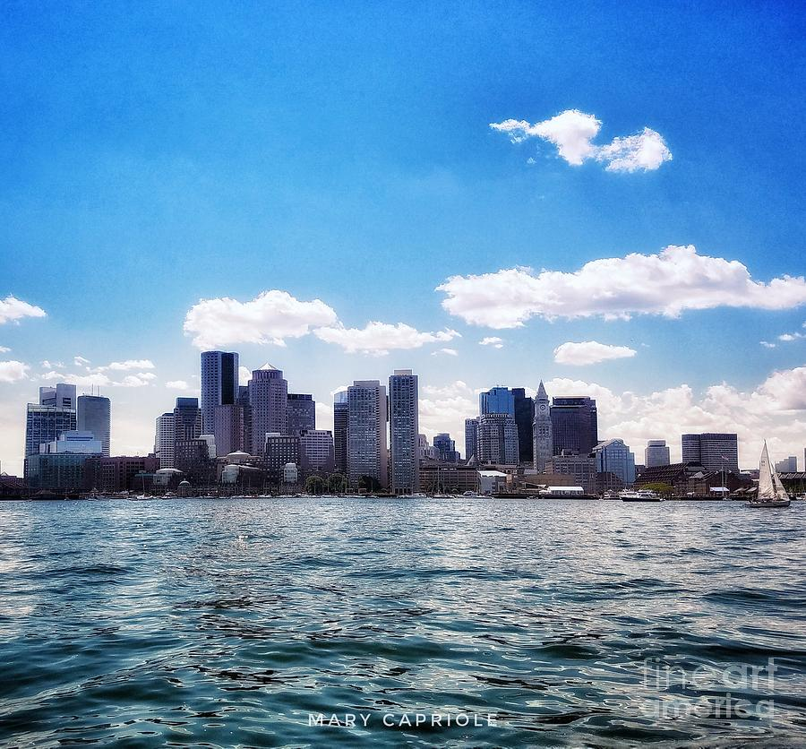 Boston Skyline from Boston Harbor  by Mary Capriole