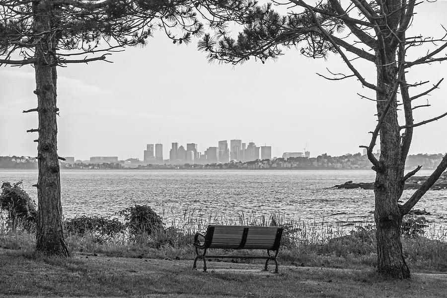Nahant Photograph - Boston Skyline From Nahant Baileys Point Nahant Ma Black And White by Toby McGuire