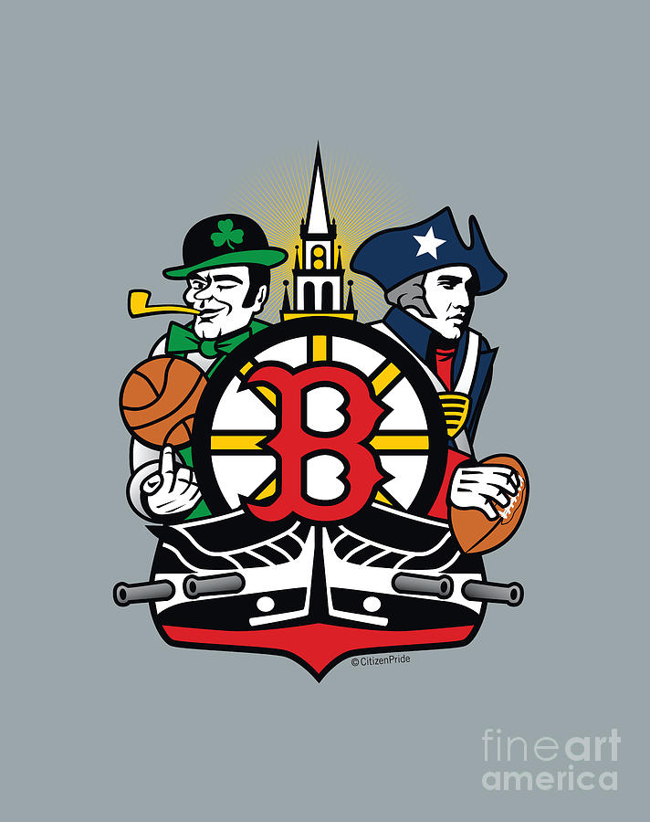 Boston Digital Art - Boston Sports Fan Crest by Joe Barsin