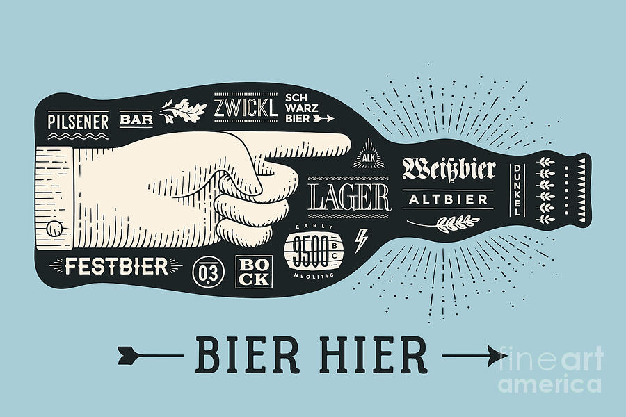Typography Digital Art - Bottle Of Beer With Hand Drawn by Forest Foxy