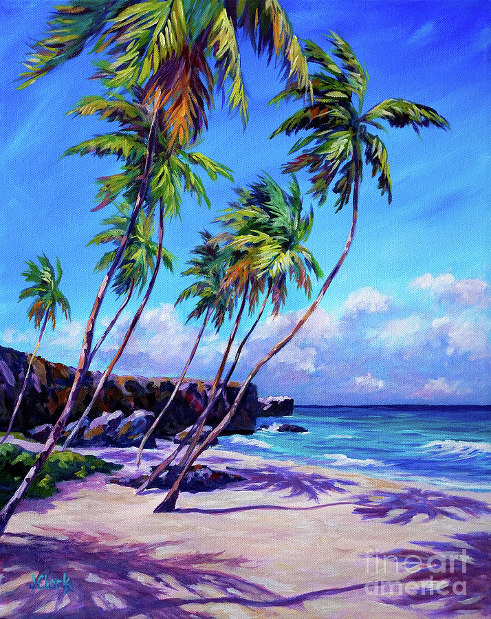 Sand Painting - Bottom Bay Beach Barbados by John Clark