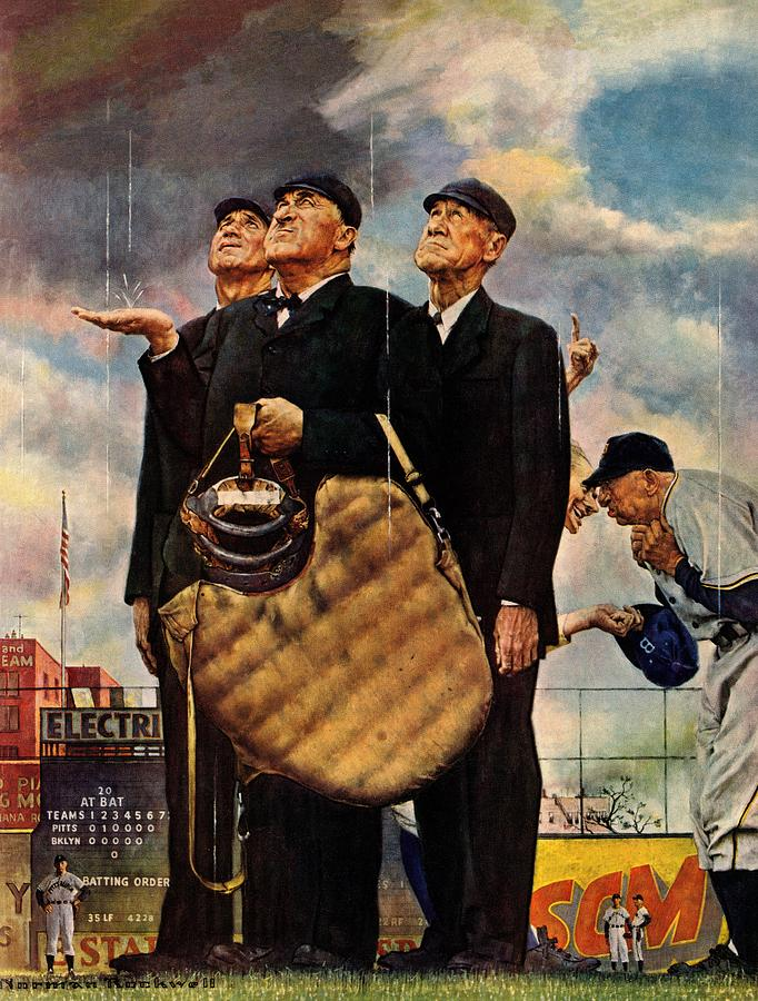 Baseball Drawing - Bottom Of The Sixth by Norman Rockwell
