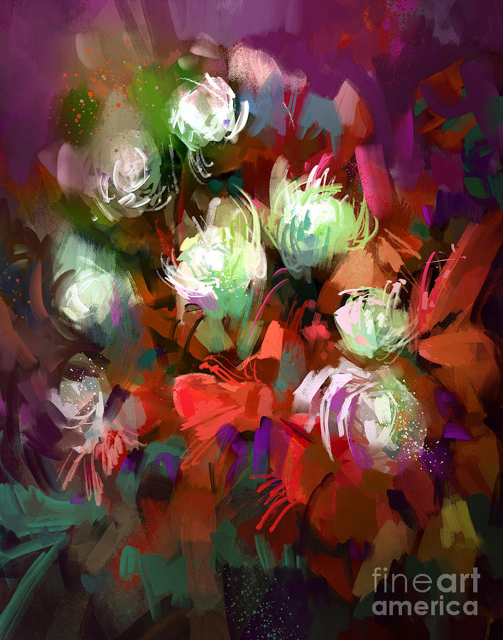 Gift Digital Art - Bouquet Of Colorful Flowersdigital by Tithi Luadthong
