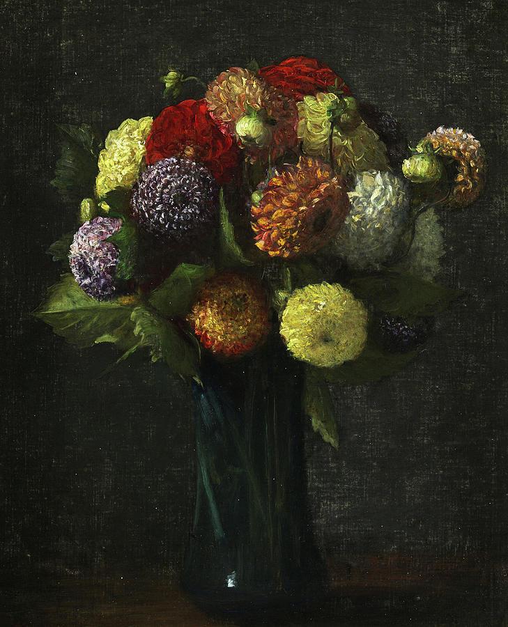 Bouquet Painting - Bouquet Of Dahlias by Henri Fantin-Latour
