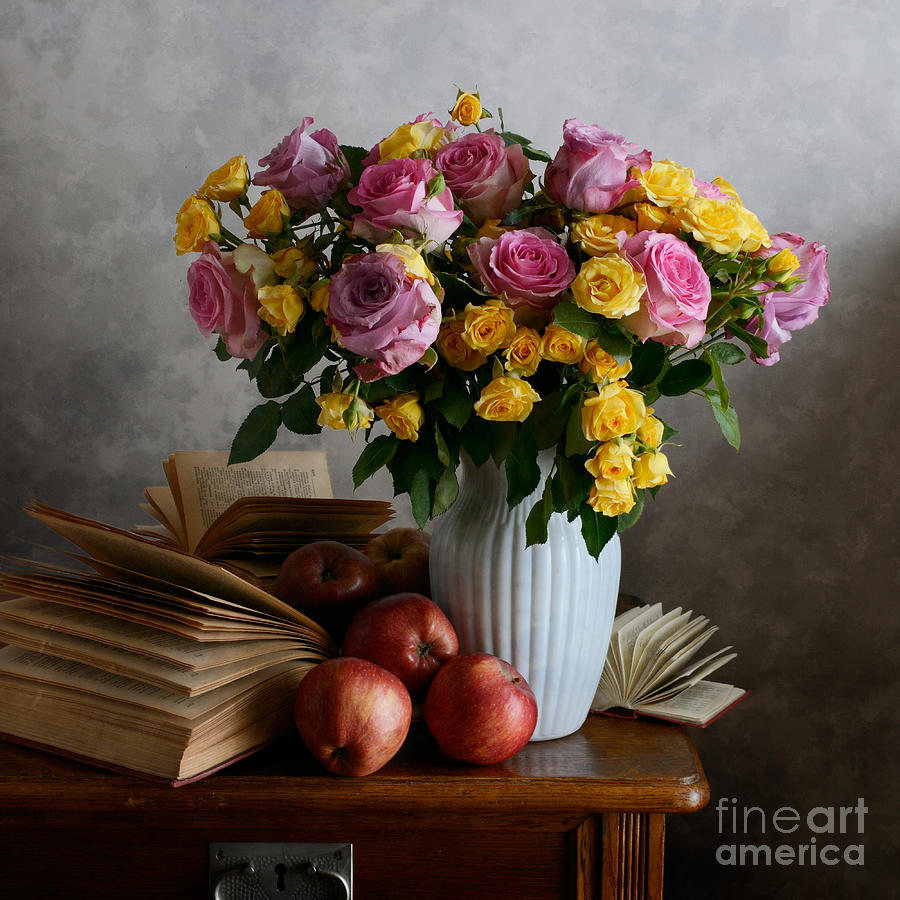 Bouquet Of Flowers In White Vase Photograph by Nikolay Panov