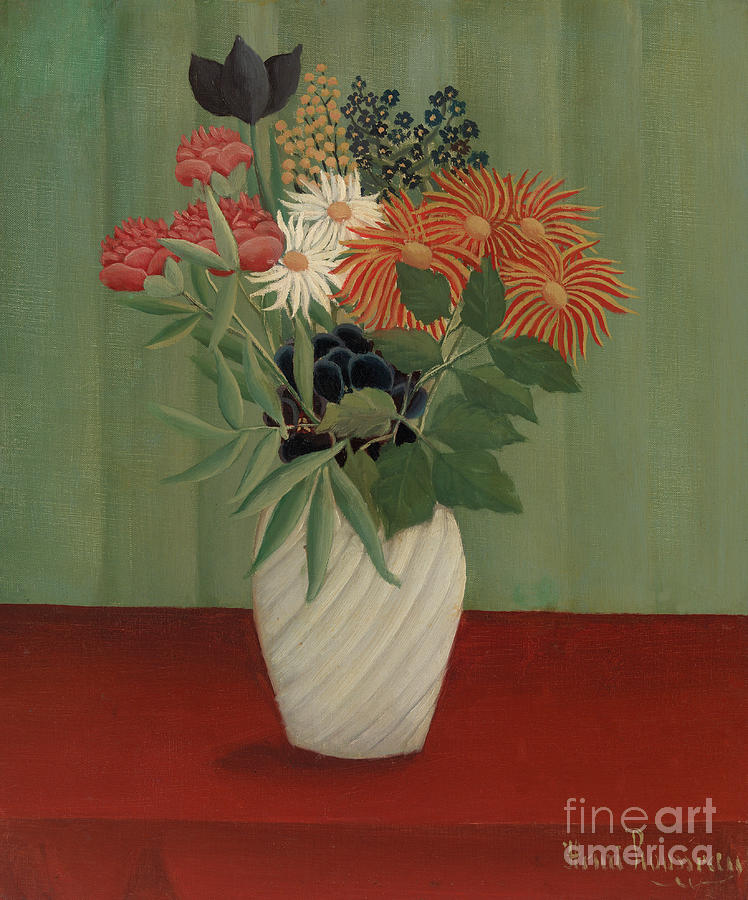 Arrangement Painting - Bouquet Of Flowers With China Asters And Tokyos, 1910 by Henri Rousseau