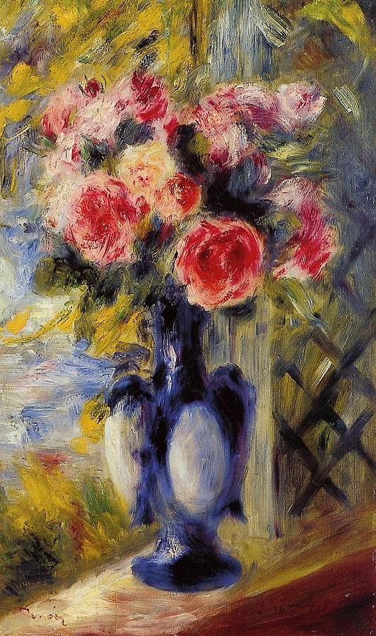 Bouquet Of Roses In A Blue Vase Painting