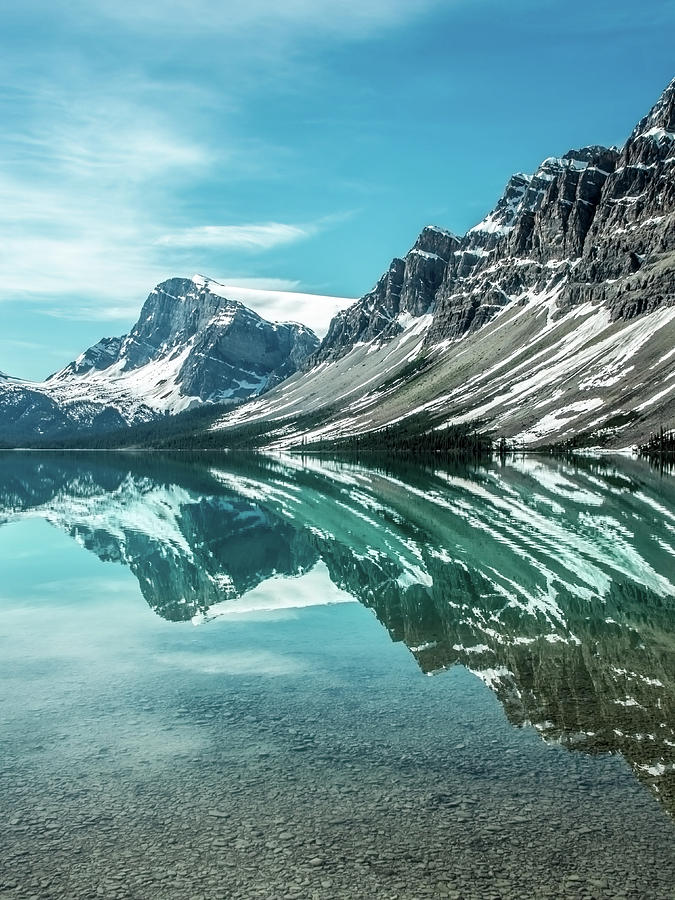 Bow Lake Reflections by Claudia Abbott