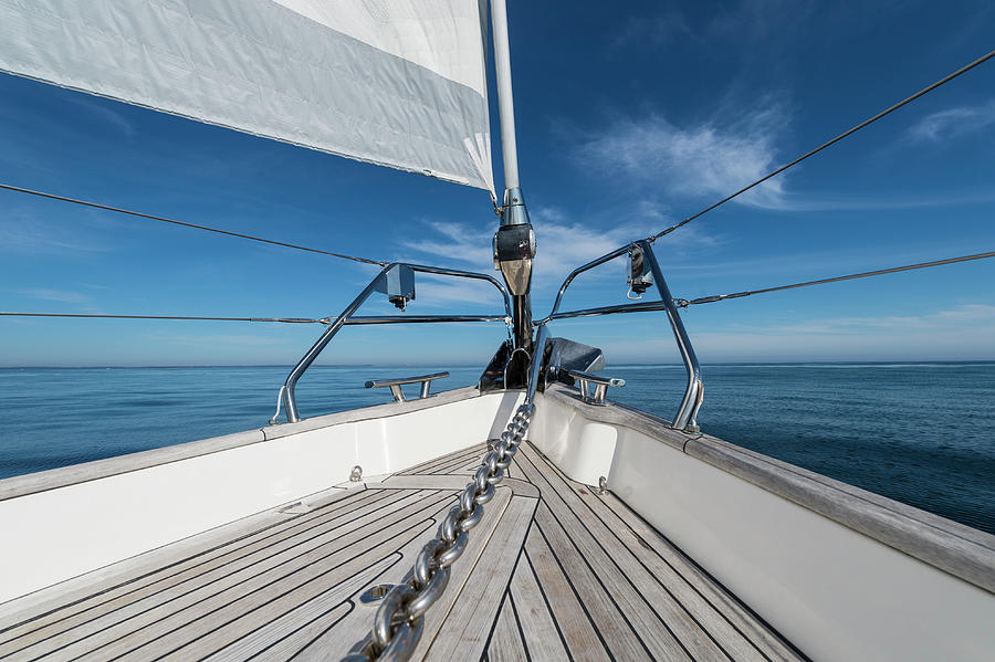 Bow Of 62 Ft Sailboat Photograph by Gary S Chapman