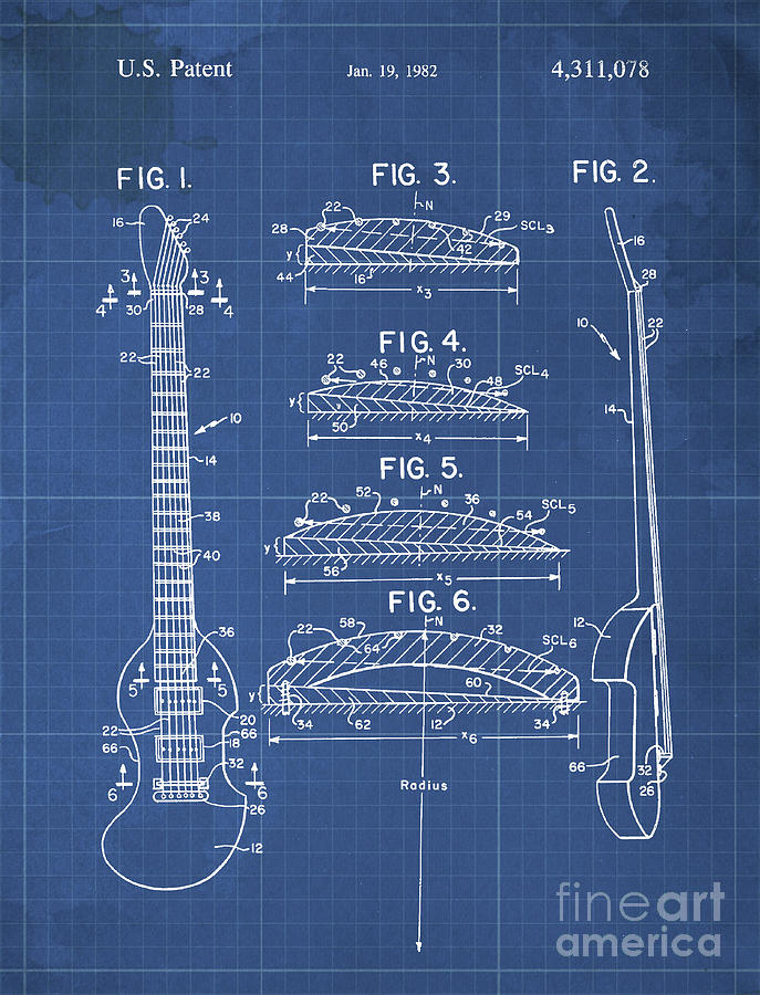 Bow Playable Guitar Patent Year 1982 Drawing