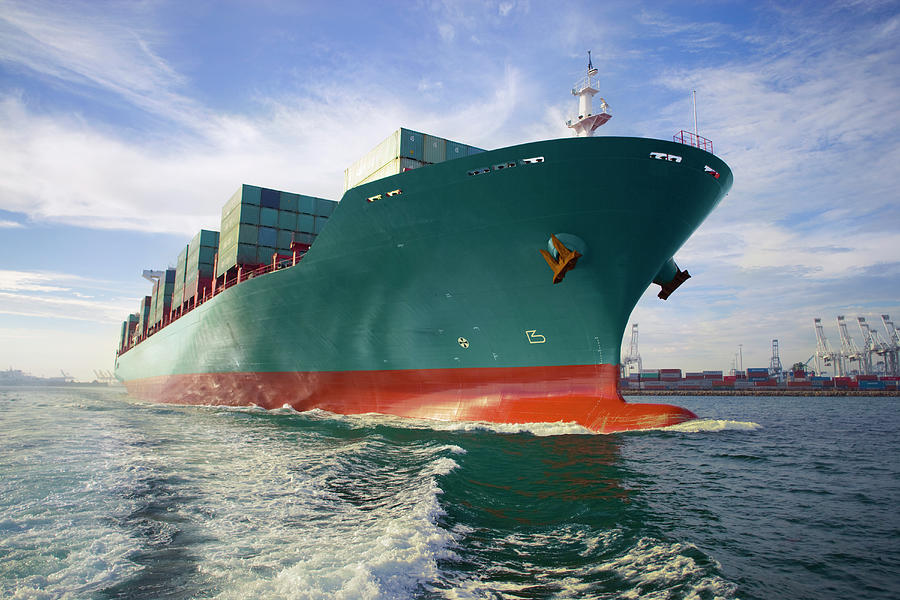 Bow View Of Loaded Cargo Ship Sailing Photograph by Stewart Sutton