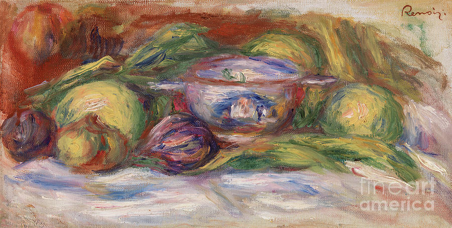 Bowl Painting - Bowl, Figs, And Apples, 1916 by Pierre Auguste Renoir