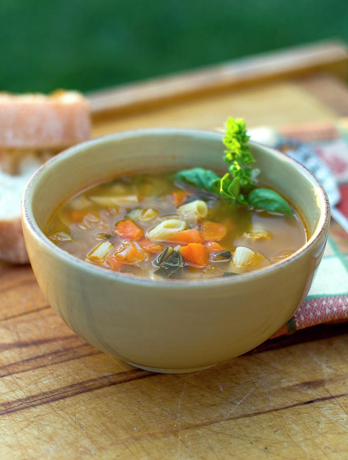 Bowl Of Minestrone Italian Soup, Winter Photograph by Funwithfood