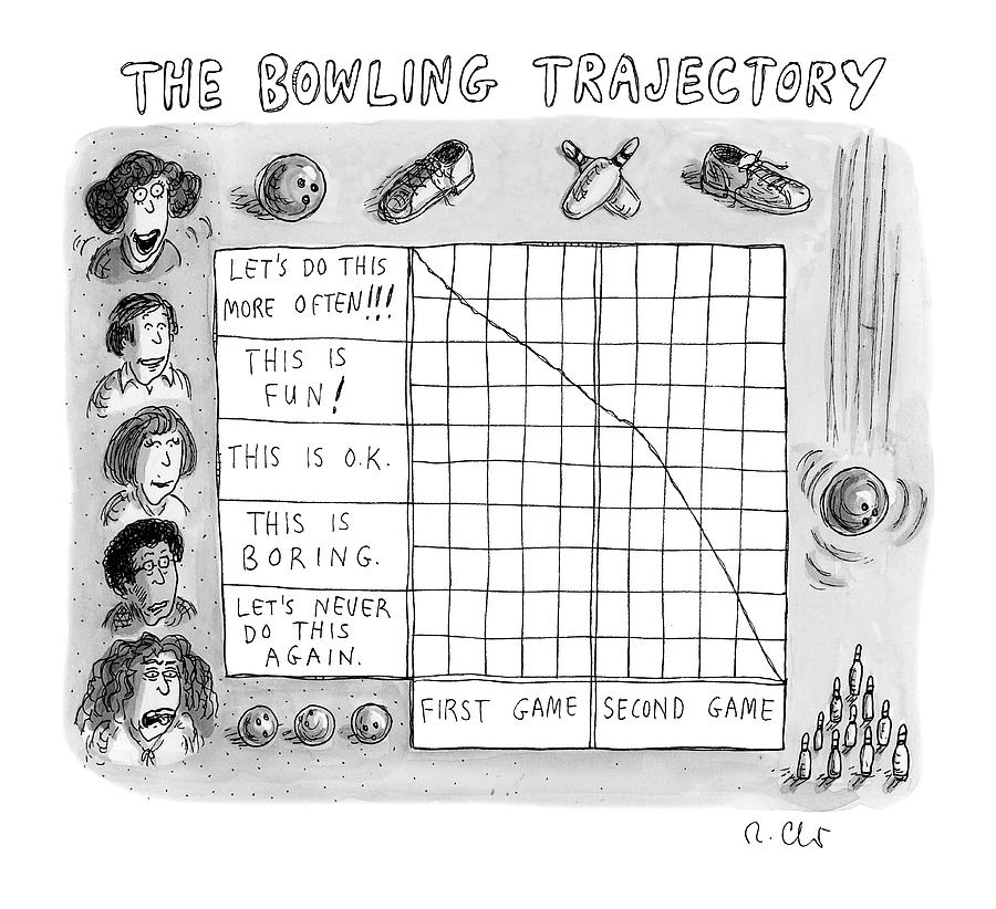 Bowling Trajectory Drawing by Roz Chast
