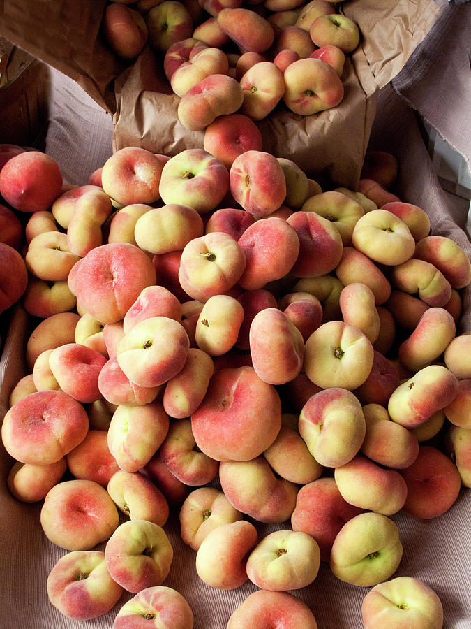 Box Of Donut Peaches At A Farmers Market Photograph by Bill Boch