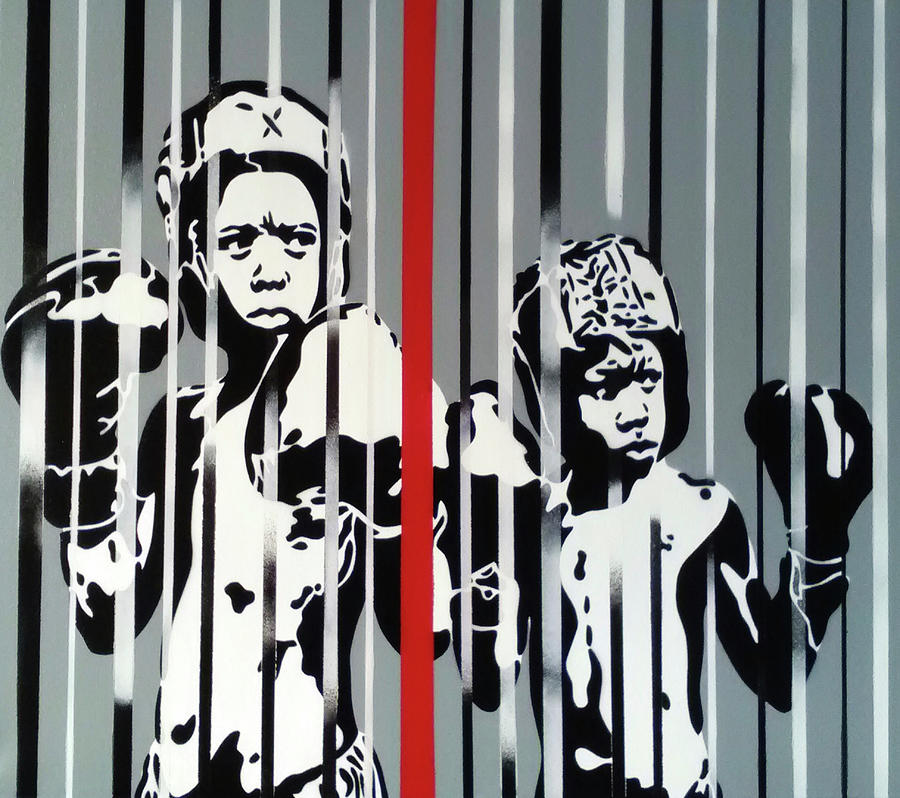 Stencil Mixed Media - Boxers Red Stripe by Abstract Graffiti